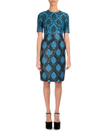 Inverted Metallic Damask-Print Sheath Dress