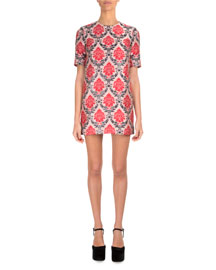 Damask-Print Shift Dress