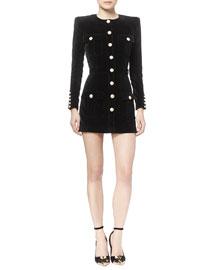 Velvet Button-Front Utility Mini Dress