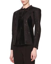 Beaded Velvet-Paneled Jacket