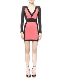 Colorblock Paneled Ponte Mini Dress