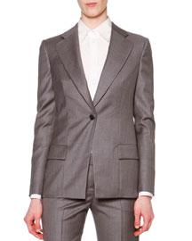 Cashmere-Blend Single-Button Long Blazer