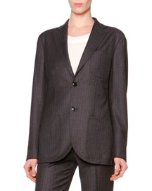 Microchevron Two-Button Blazer