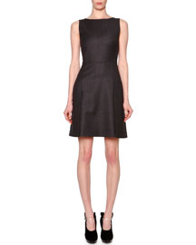 Sleeveless Microchevron Seamed Dress