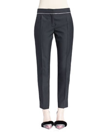 Chain-Trimmed Pleated Skinny Pants