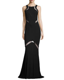 Angled Sheer-Inset Jersey Gown