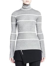 Graphic Striped Turtleneck Sweater