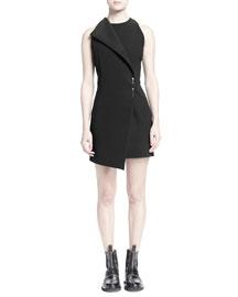 Faux-Wrap Mini Dress w/ Brooch Pin