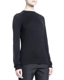 Stapled Raglan-Sleeve Sweater