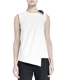 Leather Buckled-Shoulder Draped Top