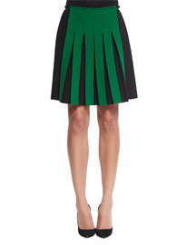 Contrast Front-Pleated A-Line Skirt