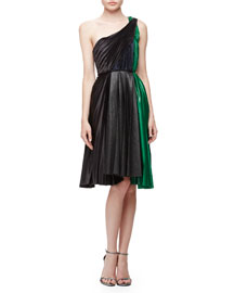 One-Shoulder Plisse Combo Dress