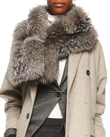 Monili-Beaded Silver Fox Fur Wrap Scarf