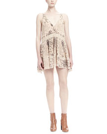 Herb-Print Plisse Lace-Inset Mini Dress