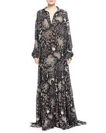 Herb-Print A-Line Maxi Dress