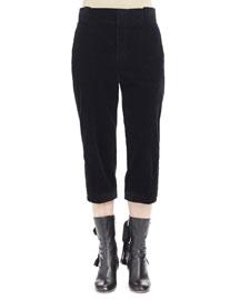 Wide-Corduroy Cropped Pants, Black