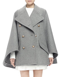 Double-Breasted Cape Coat, Gray