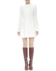 Long-Sleeve Asymmetric Button-Front Dress, Ivory