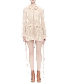 Floral-Print Chiffon Tassel Dress
