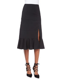 Paneled Ruffle-Hem Slit Midi Skirt