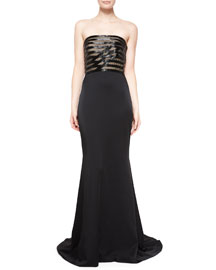 Strapless Crisscross Beaded & Crepe Gown