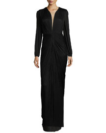 Ira Long-Sleeve V-Neck Draped Gown