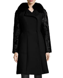 Fur-Detailed Woven Coat