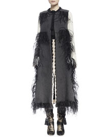 Woven Feather-Trimmed Tassel Vest