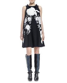 Jewel-Neck Sleeveless Embellished Dress, Black/White