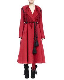 Tassel-Belted Long Fringe A-Line Coat