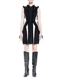 Fringe-Trimmed Contrast-Inset Dress