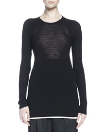 Contrast-Trim Knit Sweater