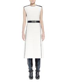Mastic Contrast Seamed Flyaway Midi Dress