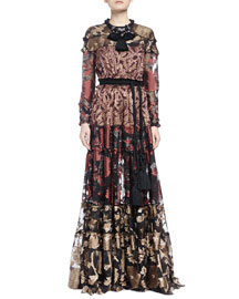 Metallic-Print Long Dress, Terracotta