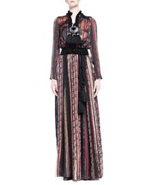 Geometric-Print Pleated Maxi Dress