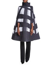 Windowpane Wool Cape Jacket, Oyster/Black