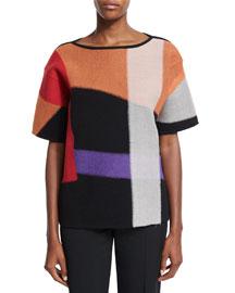 Short-Sleeve Wool Kimono Sweater, Orange/Multi