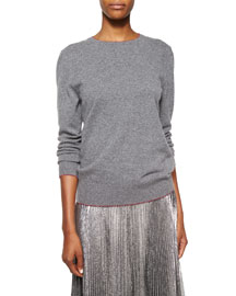 Shimmer-Trimmed Cashmere-Blend Knit Sweater