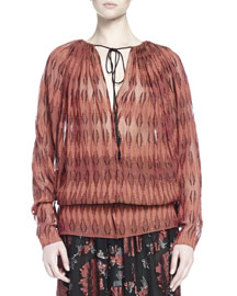 Diamond-Embroidered Gathered Peasant Blouse