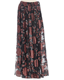 Floral Fil Coupe Maxi Skirt