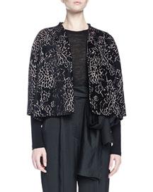 Floral-Print Velvet Swing Jacket