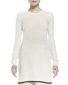 Extra-Long Contrast-Trimmed Knit Top
