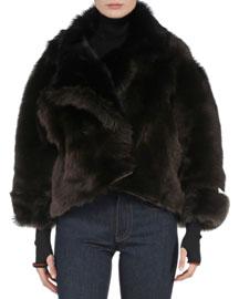 Bicolor Reversible Shearling Fur Jacket