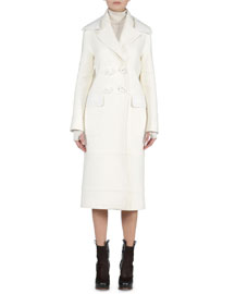 Leather-Collar Felt Long Coat