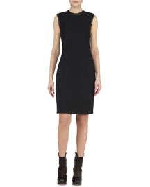 Piped Leather-Trimmed Sheath Dress