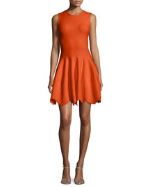 Sleeveless Floral-Embossed Dress, Red