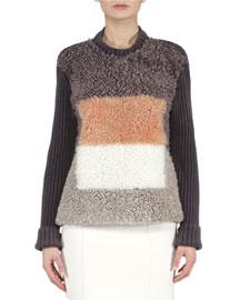 Colorblock Shearling Fur Ribbed Sweater
