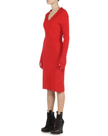 Wide-Ribbed Cashmere-Stretch Dress