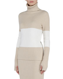 Cashmere-Blend Colorblock Turtleneck Sweater
