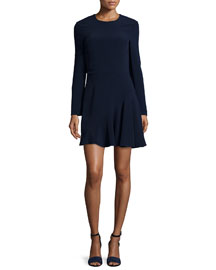 Long-Sleeve Stretch-Cady Dress, Navy